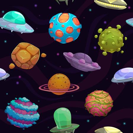 estrella caricatura: Modelo incons�til con los ovnis y los planetas fant�sticas, textura espacio vectorial