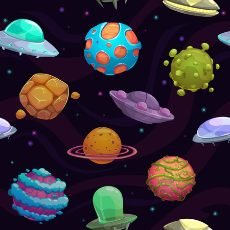Seamless pattern with ufos and fantastic planets, vector space texture