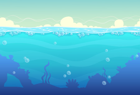 with ocean: Underwater cartoon seamless landscape, sea vector background