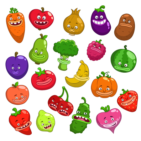 Funny cartoon fruits and vegetables characters, vector set, isolated on white Vettoriali