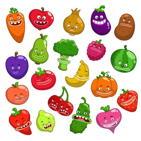 Grappige cartoon vruchten en groenten tekens, vector set, geïsoleerd op wit