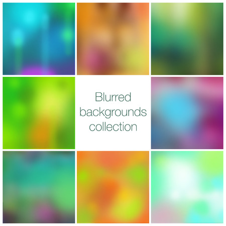 vector backgrounds: Square colorful blurred backgrounds set, vector collection