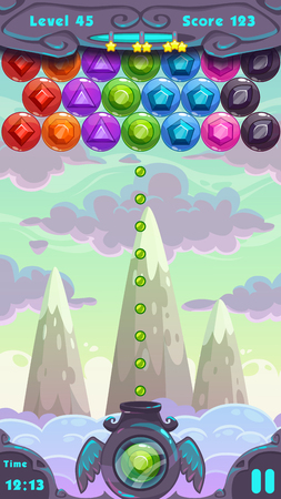 game: Bubbles shooter game screen, vector ui elements and cartoon vertical background  for game design