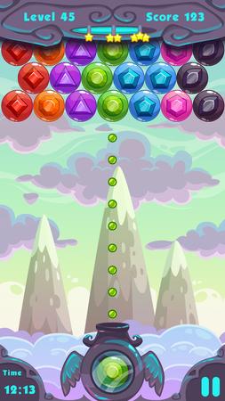 jeu: �cran de jeu de tir, �l�ments vecteur ui et dessin anim� fond vertical Bubbles pour la conception du jeu