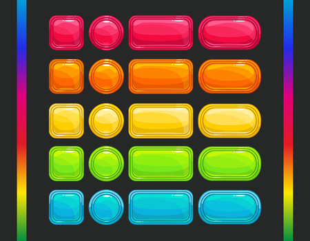Cool colorful vector glossy buttons set, spectral colors, round, square and long horizontal shapes