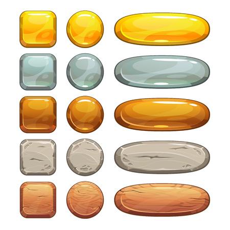 objetos cuadrados: Metálico, piedra y botones de madera establecidos, elementos aislados de juego o diseño web Vectores