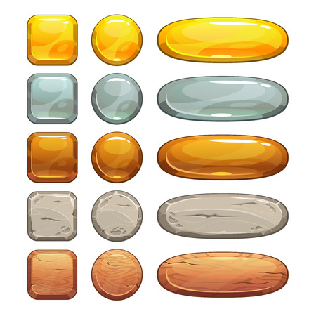 square buttons: Metallic, stone and wooden buttons set, isolated elements for game or web design