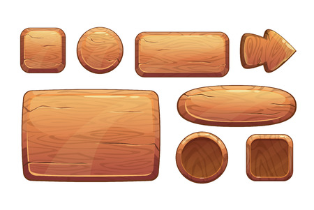 games: Cartoon wooden game assets, wood kit for game ui development, vector gui elements