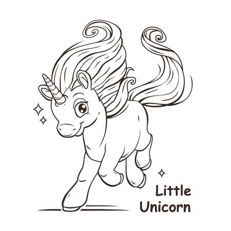 小さなかわいい漫画ファンタジー ユニコーン、輪郭ベクトル図