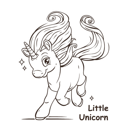 Little cute cartoon fantasy unicorn, contour vector illustration