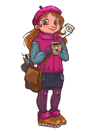 artists: Young artist girl with cup of coffee in her hands, vector illustration