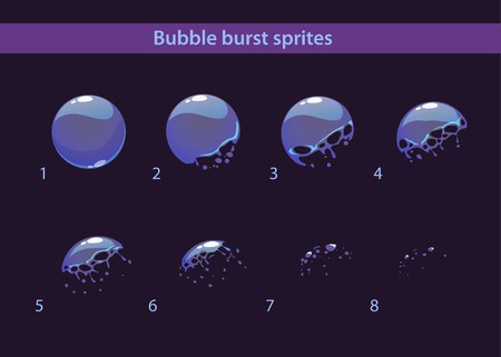 dissolution: Cartoon soap bubble burst sprites, vector frames for animation