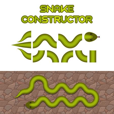 wriggle: Green snake body elements, vector snake shape constructor for game or web design