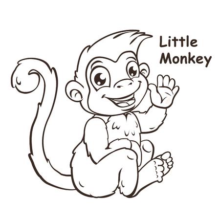 primacy: Cute cartoon sitting little monkey, vector contour illustration Illustration