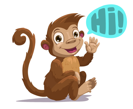 hairy adorable: Cute cartoon sitting monkey saying Hi, vector illustration, isolated on white