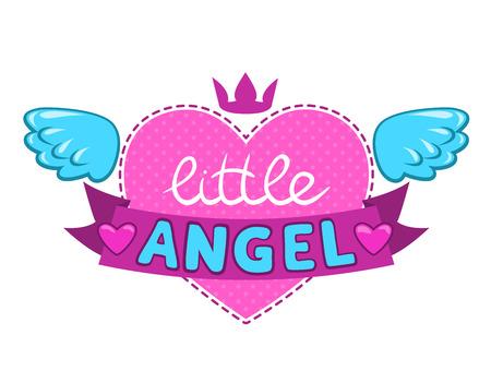 小さな天使のイラスト、かわいいベクター女の子らしいデザインの要素