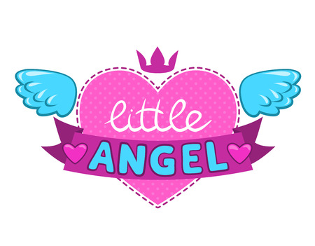 Super: Little angel illustration, cute vector girlish design element