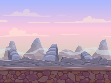 Seamless stone desert landscape, vector nature tileable background with separated layers for parallax effect