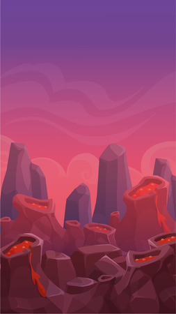 alien landscape: Cartoon vertical volcano landscape, nature background, prehistoric scene illustration