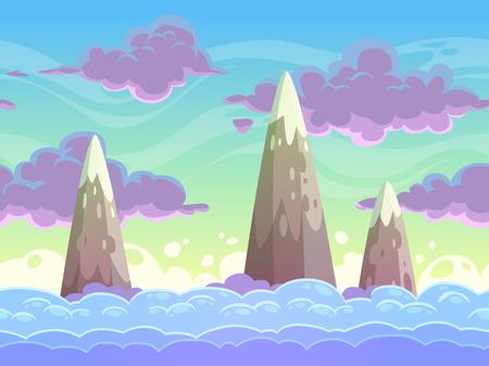 シームレスな漫画水平 cloudscape、分離層、ゲームの背景をベクトルします。  イラスト・ベクター素材