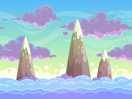 Seamless cartoon horizontal cloudscape, separated layers, vector game background Vettoriali