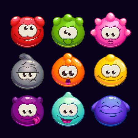 personnage: Bande dessin�e dr�le de personnages ronds de gel�e fix�s, illustration vectorielle, kit de dr�les de cr�atures pour la conception de jeu
