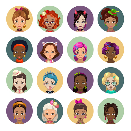 stylish women: Cute cartoon girls avatars, stylish women faces set, flat style Illustration