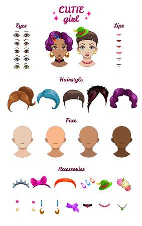 bobby pin: Big girl stylish kit, vector girl characters avatars constructor