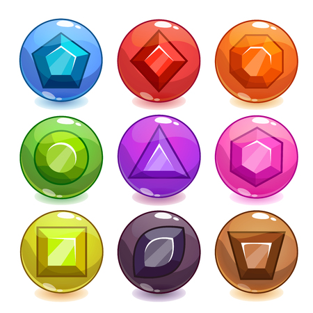 game design: Cartoon colorful transparency bubbles with gemstones inside, vector assets for game UI design