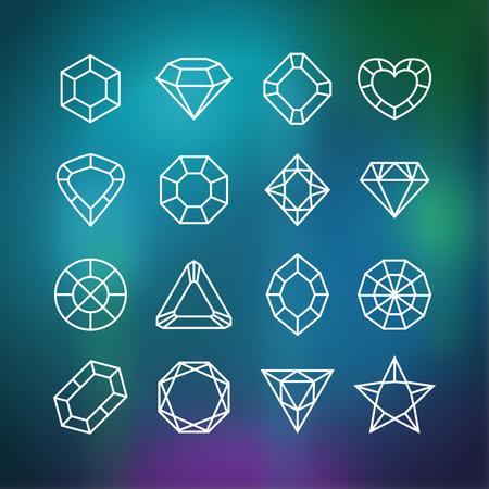 flaco: Iconos de diamantes lineales establecidos en el fondo borroneada