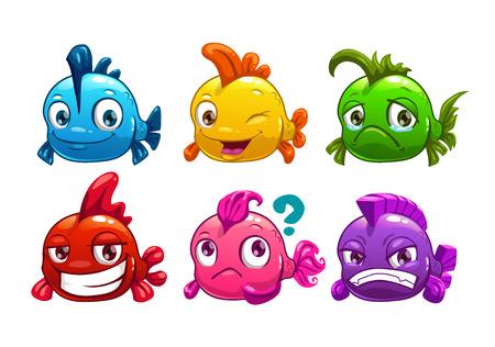 divertido: Historieta linda peces de colores conjunto, ilustración vectorial