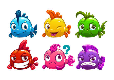 Cute cartoon colorful fishes set, vector illustration Vettoriali