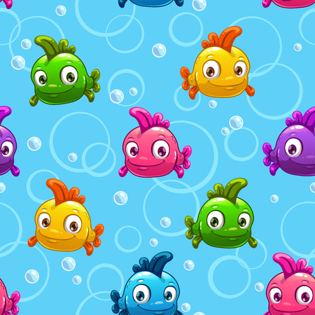 water bubbles: seamless pattern with cute cartoon colorful fishes, vector endless underwater background