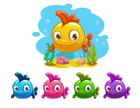 bottom of sea: Funny cartoon yellow baby fish, different colors variation, vector illustration