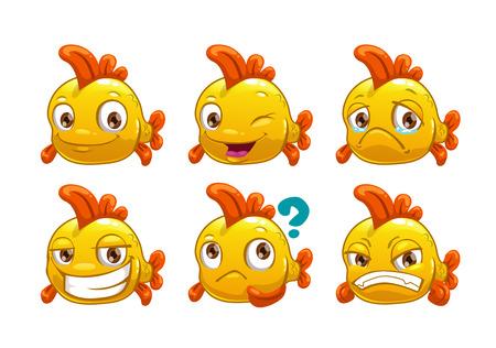 ojos tristes: De dibujos animados de pescado amarillo divertido con diferentes emociones, aislado en fondo blanco, conjunto de vectores