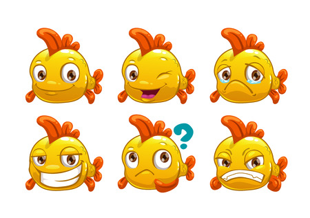 sad cartoon: Funny cartoon yellow fish with different emotions, isolated on white background, vector set