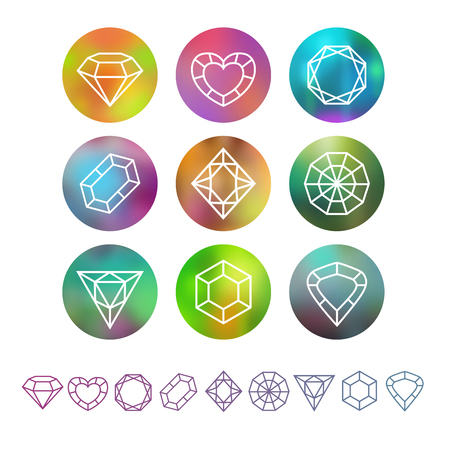 gemstones: Vector abstract crystal monograms, outline geometric symbols, design elements on the round blurred backgrounds