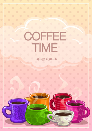 tea table: Coffee time banner, vector colorful background with coffee cups