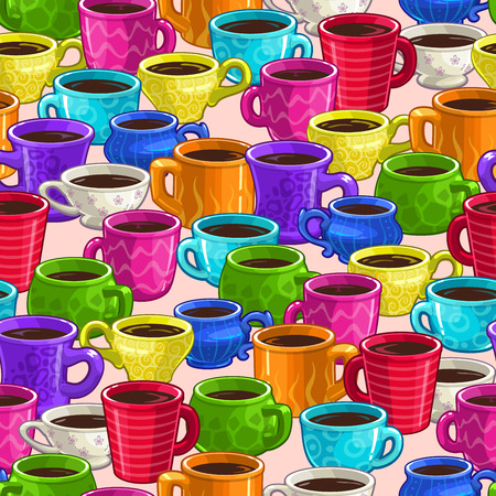 Seamless pattern with colorful cartoon coffee cups, vector texture Vettoriali