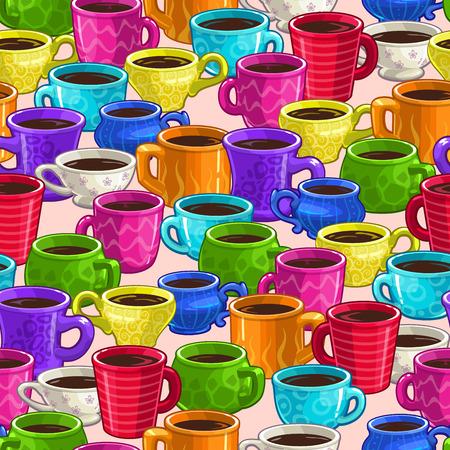copa: Patrón sin fisuras con las tazas de café de dibujos animados de colores, textura vector