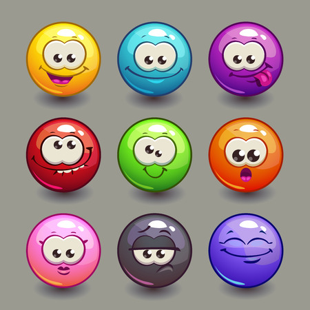 colours: Cartoon comic round faces set, colorful vector bubble characters