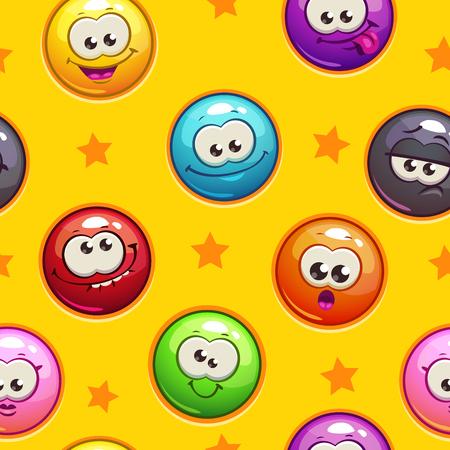 pelota caricatura: Patrón sin fisuras con emoticon caras divertidas sobre fondo amarillo, cuadrado interminable textura