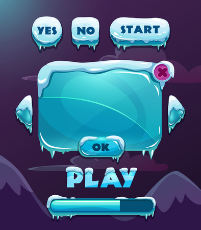 blue button: Cartoon vector ice winter game user interface