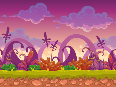 Cartoon fantasy vector seamless landscape, endless alien nature background for game design, separated layers for parallax effect in animation