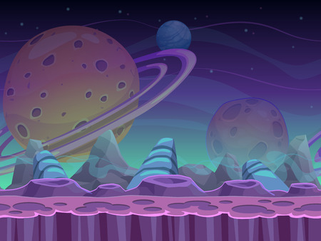 space: Fantasy seamless alien landscape, separated layers for game design, vector space background