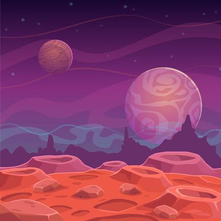 판타지 외계인 풍경, 벡터 만화 공간 배경