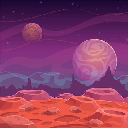 Fantasy alien landscape, vector cartoon space background 版權商用圖片 - 48171362