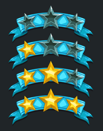 user experience design: Cool cartoon game rating icons, level complete vector templates