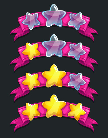 Cool cartoon glassy stars on pink ribbon, ranking game elements