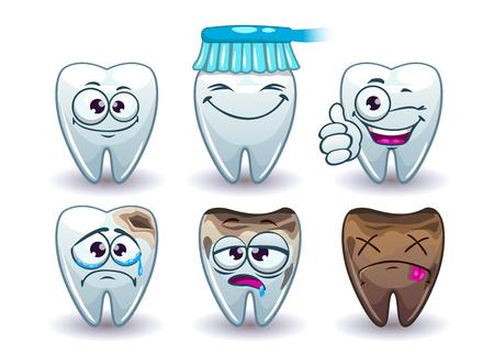 muela caricatura: dientes divertido del vector del conjunto de dibujos animados, conjunto de iconos de la higiene bucal, aislado en blanco